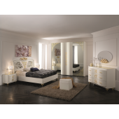 Dormitor italian modern Principessa (pat, dressing/sifonier, comoda dressing cu oglinda, noptiere)