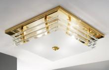 Lustra austriaca de cristal, Ontario, suspendata, placata cu aur