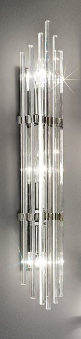Aplica de perete austriaca de cristal, Ontario, placaj crom