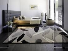 Covor modern produs la comanda, "frunze in nuante de gri", dormitor master