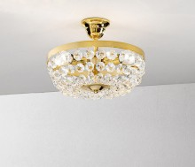 Lampa de plafon, din cristal, placata cu aur