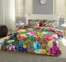 """Set de lenjerie de pat """"Festivalul Florilor"""", 100% satin de bumbac, pat king"""