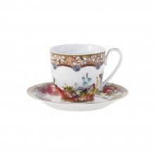 Set de ceasca ceai si farfurie cu flori, 100% portelan, 150 ml.
