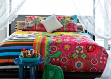 """Set de lenjerie de pat """"Confruntarea in moda Caraibelor"""", 100% satin de bumbac"""