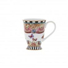 Cana de ceai, desen cu dungi si fluturi, 100% portelan, 150 ml