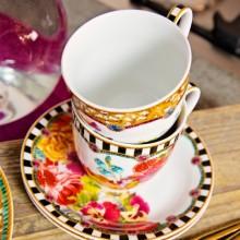 Set de ceasca ceai si farfurie cu dungi alb-negru, 100% portelan, 150 ml
